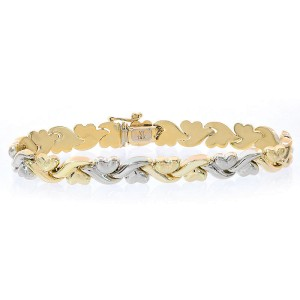 14K Two Tone Gold Hearts and Kisses Bracelet