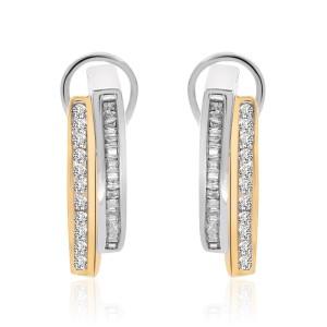 14K Two Tone Gold Diamond J-Hoop Earrings