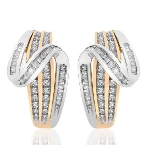 10K Two Tone Gold Diamond Accent Twist J-Hoop Earrings