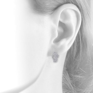 18K White Gold Diamond Crossover J-Hoop Filigree Rope Earrings