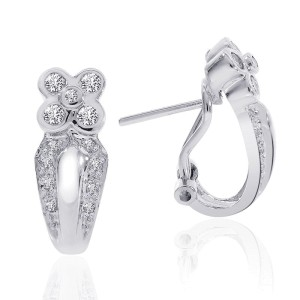 14K White Gold Diamond Flower J-Hoop Earrings