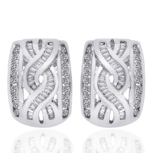 14K White Gold Diamond Accent Infinity J-Hoop Earrings