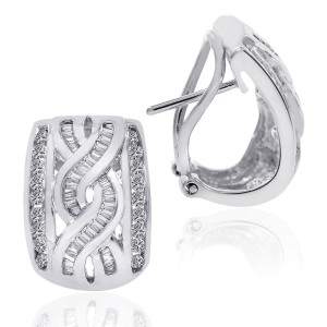 14K White Gold Diamond Accent Infinity J-Hoop Earrings