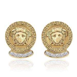 14K Yellow Gold Diamond Medusa Button Earrings