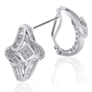 14K White Gold Diamond Cascading Cluster J-Hoop Earrings