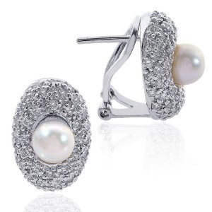 18K White Gold White Sea Pearl Diamond J-Hoop Earring
