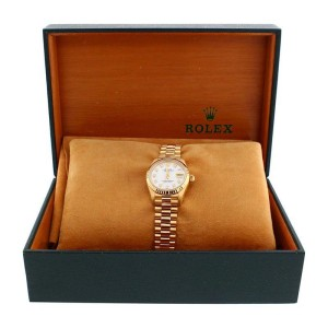 Rolex President 69178 Mother Of Pearl 18K Gold Diamond Dial Fluted Bezel Womens Watch