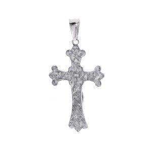 14K White Gold Cross Jesus Crucifix Pendant