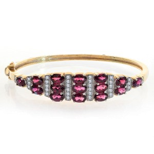 14K Yellow Gold Rhodolite Diamond Bangle Bracelet