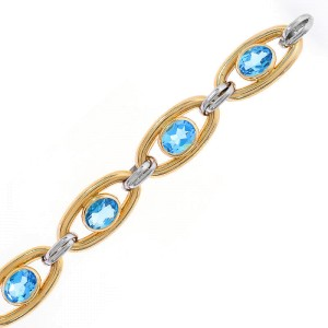 14K Two Tone Gold And Blue Topaz Toggle Link Bracelet