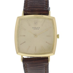 Rolex 18K Cushion Shaped Manual Vintage Watch Circa 1960's