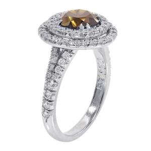 Platinum Cognac Diamond Halo Split Shank Ring