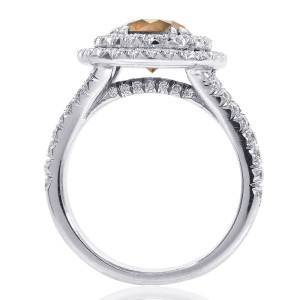Platinum Cognac Diamond Halo Split Shank Ring