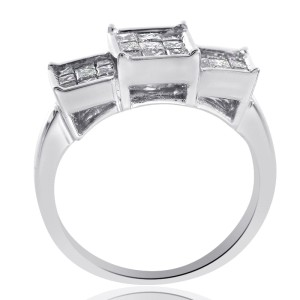 14K White Gold Princess Cut Invisible Setting Ring