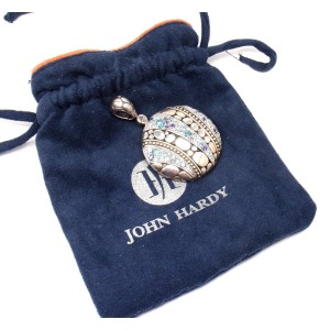 John Hardy Sterling Silver 925 18K Gold Blue Topaz Iolite Large Lava Pendant