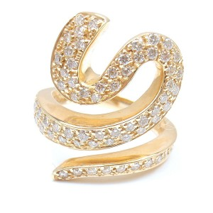 Sonia B. 14K Yellow Gold Pave Diamond Spiral Wave Ring