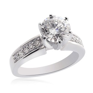 14K White Gold Natural Round Cut Diamond Engagement Ring