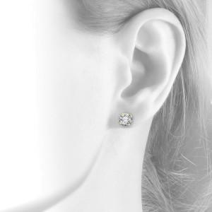 14K Yellow Gold 1.75 ct. Round Brilliant Cut Screwback Basket Stud Earrings