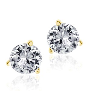 14K Yellow Gold .50 ct. Round Brilliant Cut Screwback Martini Stud Earrings