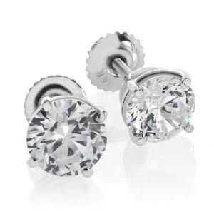 14K White Gold 1.00 ct. Brilliant Round Cut Basket Screwback Earrings