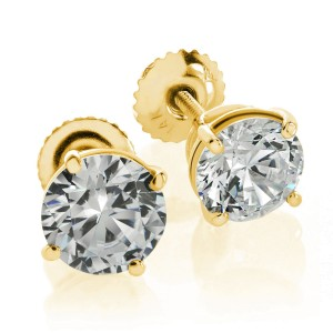 14K Yellow Gold Round Brilliant Cut Screwback Basket Stud Earrings