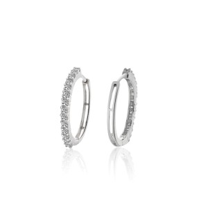 14K White Gold 0.75ct Diamond Eternity Hoop Earrings