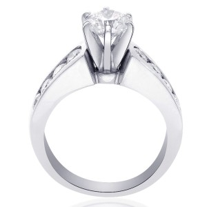14K White Gold Natural Round Cut Diamond Ring