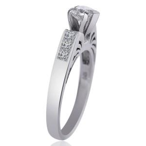 14K White Gold Natural Heart Shape Diamond Ring