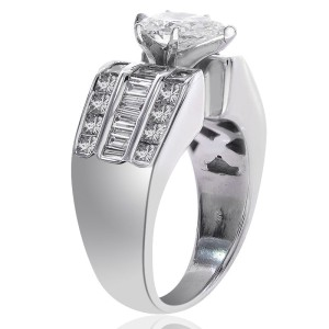 14K White Gold Natural Pear Shape Diamond Ring