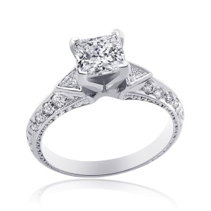 14K White Gold Princess Diamond Style Ring