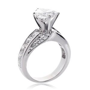 14K White Gold Natural Heart Shaped Diamond Ring