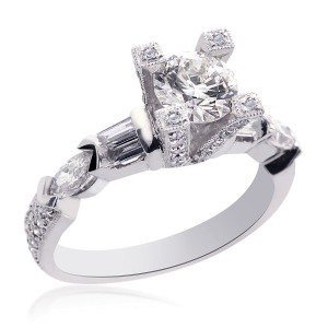 18K White Gold Natural Round Diamond Designer Ring