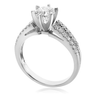 18K White Gold Natural Round Cut Diamond Split Shank Ring