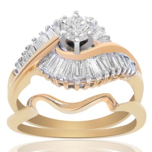14K Yellow Gold Natural Round Cut Diamond Bridal Set Ring
