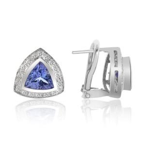 14K White Gold Tanzanite Pave Diamond Earrings