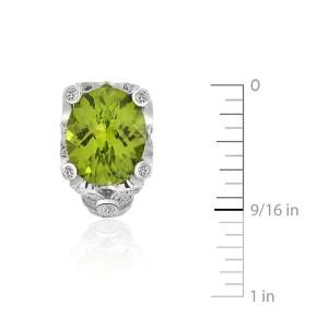 14K White Gold Peridot Diamond Earrings