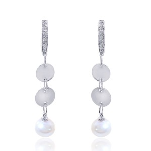 14K White Gold Pearl Diamond Drop Earrings