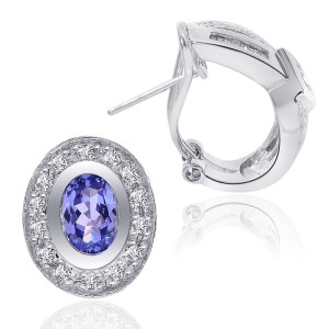14K White Gold Oval Cushion Tanzanite Diamond Frame Stud Earrings