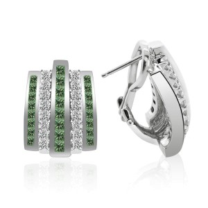 14K White Gold Diamond  w/ Fancy Green Princess Cut Diamond Earrings