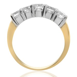 14K Yellow Gold Round Brilliant Diamond Wedding Band