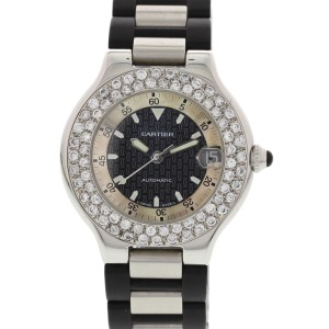 Cartier 2427 Must 21 Autoscaph Stainless Steel and Diamond Mens Watch