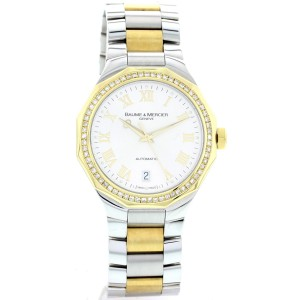 Baume & Mercier Riviera 18K Yellow Gold & SS Automatic Diamonds Mens Watch