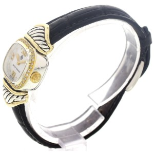 David Yurman 14K Yellow Gold & Stainless Steel Diamonds Womens Watch