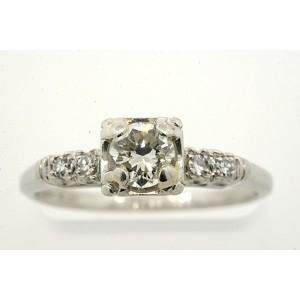 Vintage Platinum .40Ct Diamond Solitaire Plus Engagement Ring Size 6.