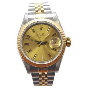 Rolex Date Stainless Steel and 18K Yellow Gold 26mm Womens Watch