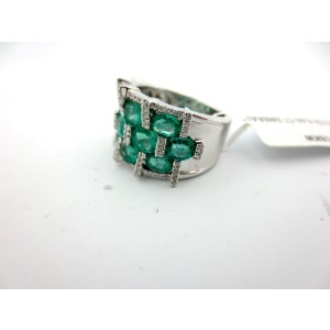 18k White Gold Oval Emerald & 5.01Ct Round Diamond Cluster Vintage Ring