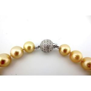 14k White Gold South Sea Pearl Diamond & Sapphire  Necklace