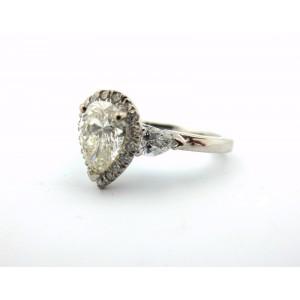 Platinum 1.61Ct Natural Pear Shape Cut Round Diamond Engagement Ring