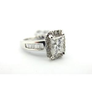 Platinum 2.03Ct Natural Princess and Round 2.03Ct Diamond Engagement Ring
