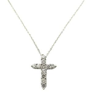 18K White Gold 1.21Ct Diamond Cross Pendant Necklace